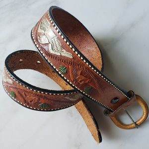 Vintage Mexico Eagle and Horse Leather Belt
